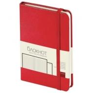 Бизнес-Блокнот А6, 100 л., твердая обложка, балакрон фактурный, на резинке, BV, Красный, 3-102/04