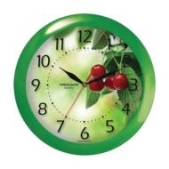 Часы настенные Troyka 11120162, круг, Белые с рисунком Вишня, Зеленая рамка, 29х29х3,5 см