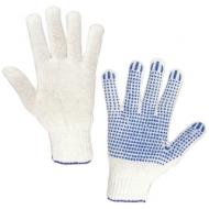 Перчатки хлопчатобумажные, Комплект 5 пар, 7,5 класс, 46-48 166 текс, ПВХ-точка, Лайма Стандарт, Белые, 600801