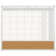 Доска-планинг на месяц магнитно-маркерная/пробковая (60x50 см), алюминиевая рамка, ECO, 2х3, TPC01/C65