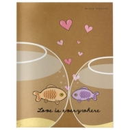 Тетрадь Евро А5 40 листов Bruno Visconti сшивка, клетка, выборочный лак, бежевая бумага 70 г/м, FISH LOVE, 7-40-088