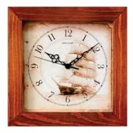 Часы настенные Салют ДС-2АС28-176, квадрат, с рисунком Парусник, деревянная рамка, 31х31х4,5 см