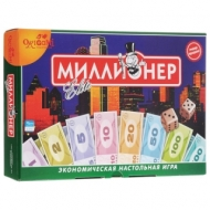 Игра настольная Миллионер Elite, игровое поле, банкноты, жетоны, акции, полисы, ORIGAMI, 00111