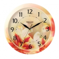 Часы настенные Troyka 11000018, круг, Белые с рисунком Лилии, рамка в цвет корпуса, 29x29x3,5 см