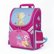 Ранец для учениц начальной школы Пифагор, Мишка с бабочкой, 36х28х15 см, 227931