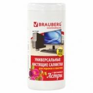 Чистящие салфетки Brauberg для экранов и пластика, с ароматом Астра, в тубе 100 шт., влажные, 511689