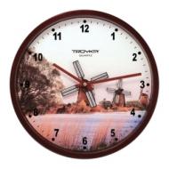 Часы настенные Troyka 44031441, круг, Белые с рисунком Мельница, коричневая рамка, 29,5х29,5х5,4 см