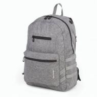Рюкзак Tiger Family (Тайгер), молодежный, сити-формат, серый, 45х29х14 см, TDMU-004A