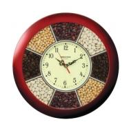 Часы настенные Troyka 11131141, круг, Часы-специи, коричневая рамка, 29х29х3,5 см