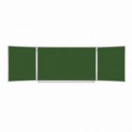 Доска для мела магнитная 3-х элементная (100х150/300 см), 5 рабочих поверхностей, Зеленая, Brauberg, 231707