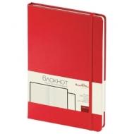 Бизнес-Блокнот А5,100 л., твердая обложка, балакрон, на резинке, BV, Красный, 3-101/04