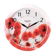 Часы настенные Troyka 11000009, круг, Белые с рисунком Маки, рамка в цвет корпуса, 29x29х3,5 см