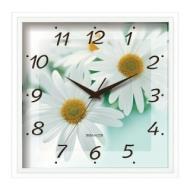Часы настенные Салют П-2А7-456, квадрат, Белые с рисунком Ромашки, Белая рамка, 28х28х4 см