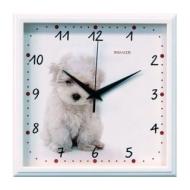 Часы настенные Салют П-2А7-391, квадрат, Белые с рисунком Щенок, Белая рамка, 28х28х4 см