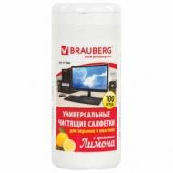 Чистящие салфетки Brauberg для экранов и пластика, с ароматом Лимон, в тубе 100 шт., влажные, 511688