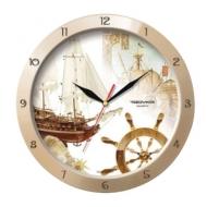 Часы настенные Troyka 11135172, круг, бежевые с рисунком Парусник, бежевая рамка, 29х29х3,5 см