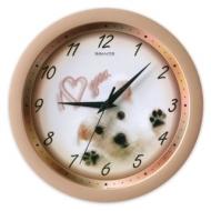 Часы настенные Салют П-Б2.2-146, круг, бежевые с рисунком Щенок, бежевая рамка, 28х28х4 см