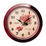 Часы настенные Troyka 11131155, круг, бежевые с рисунком Винтаж, коричневая рамка, 29х29х3,5 см