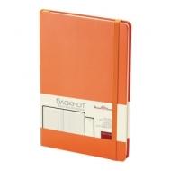 Бизнес-Блокнот А5, 100 л., твердая обложка, балакрон, на резинке, BV, Оранжевый, 3-101/05