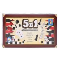 Игра магнитная 5 в 1 Шашки, шахматы, нарды, карты, домино, 1TOY, Т12060