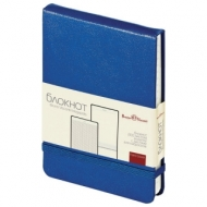 Бизнес-Блокнот А6, 100 л., твердая обложка, балакрон, открытие вверх, Bruno Visconti, Синий, 3-104/01