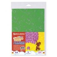 Цветная пористая резина (фоамиран) для творчества А4, толщина 2 мм, Brauberg, 5 листов, 5 Цветов, узор из сердечек, 660084