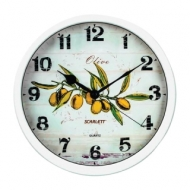 Часы настенные Scarlett SC-WC1005K, круг, Белые с рисунком Олива, Белая рамка, 31x31x5,2 см, SC - WC1005K