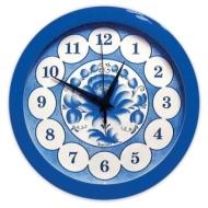 Часы настенные Салют П-Б4-169, круг, голубые с рисунком Гжель, Синяя рамка, 28х28х4 см