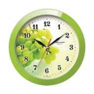 Часы настенные Troyka 11121161, круг, Белые с рисунком Виноград, Зеленая рамка, 29х29х3,5 см