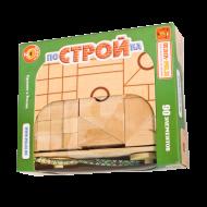 Деревянный набор геометрических форм в тележке «ПоСТРОЙка»