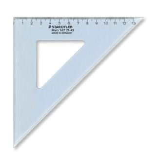 Угольник Mars 45/45, 20 см, пластик, прозрачный