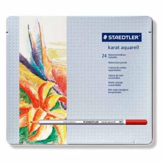 Набор цветных карандашей KARAT, акварельные, 24 цвета, металлическая коробка