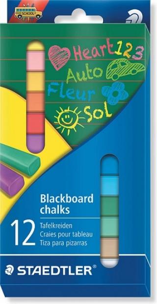 Набор цветных мелков для досок, 12 мелков в блистерной упаковке